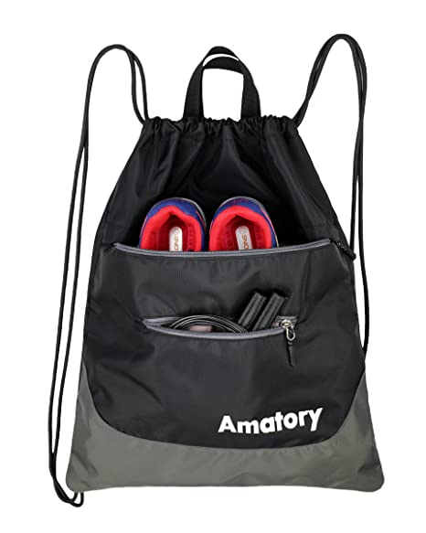Drawstring Backpack Sports Athletic Gym String Bag Cinch Sack Gymsack  Sackpack (Black) 849602434c15c