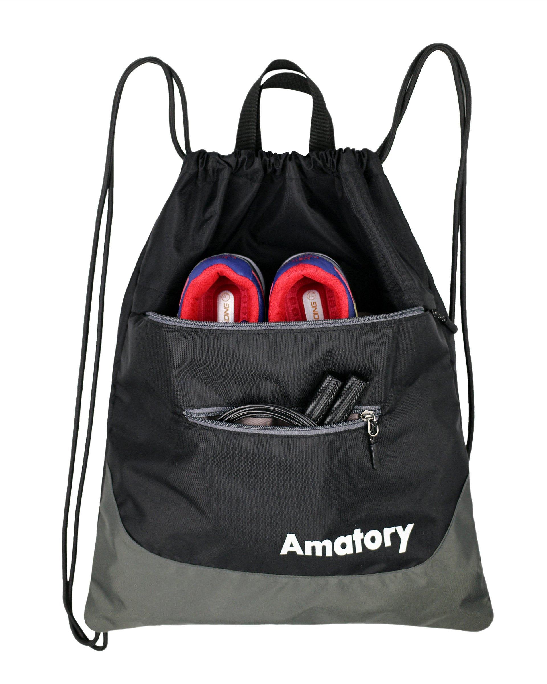 Drawstring Backpack Sports Gym String Bag Cinch Sack Gymsack Sackpack Waterproof (Black)