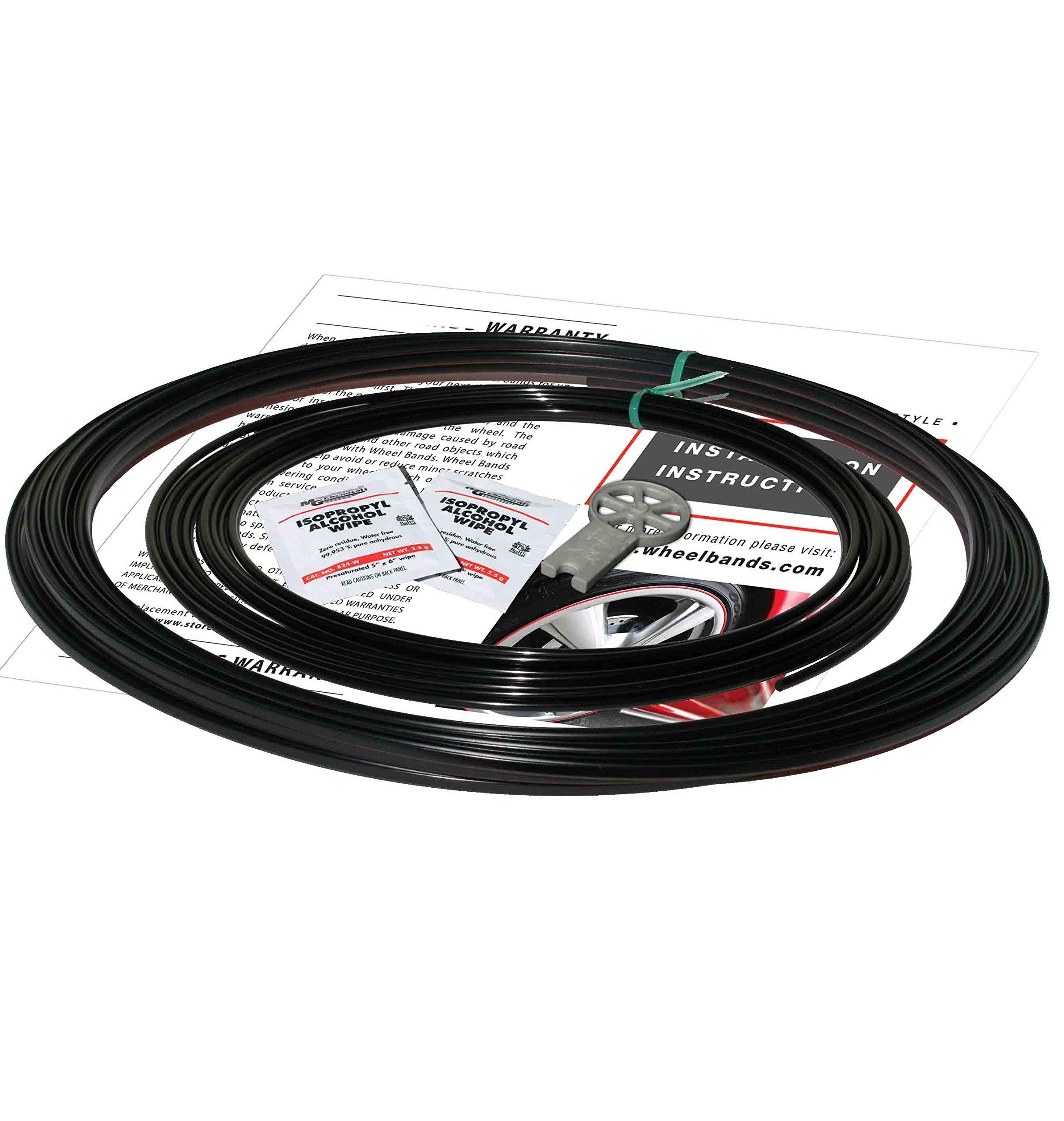 RimPro-Tec Wheel Rim Protection Full Kit, Set of 4 x Black Bases and Black Inners