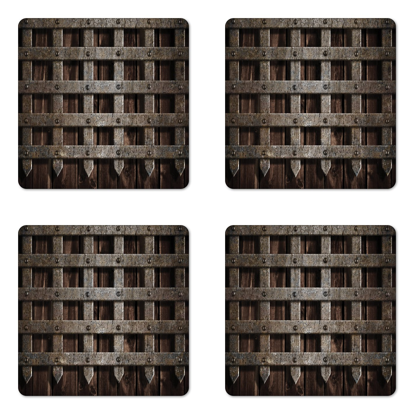 Lunarable Medieval Coaster Set of Four, Medieval Wooden Castle Wall and Gate Greek Style Mid-Century Designed Artwork Print, Square Hardboard Gloss Coasters for Drinks, Grey