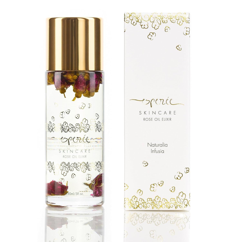 Luxury Rose Oil Elixir 5oz – 100 Natural Flower Infused Face, Body, Bath, Massage, Moisturizer, Hydrating Oil for Dry Skin and All Skin Types, Coconut, Rosehip Seed, Jojoba, Neroli Oils