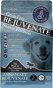 Annamaet Grain-Free Re-Juvenate Senior Formula Dry Dog Food, (Fresh Silver Carp & Turkey), 25-lb Bag, Brown