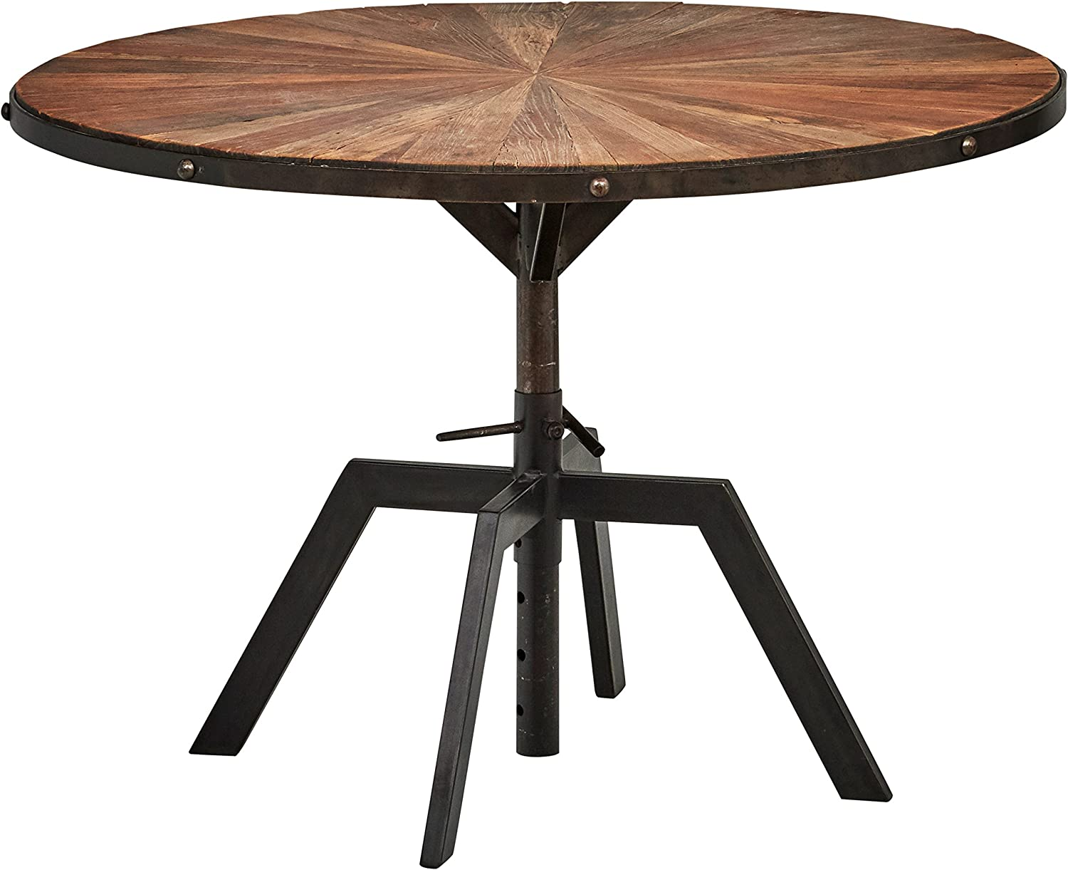 Rivet Industrial Wood and Metal Round Dining Kitchen Table
