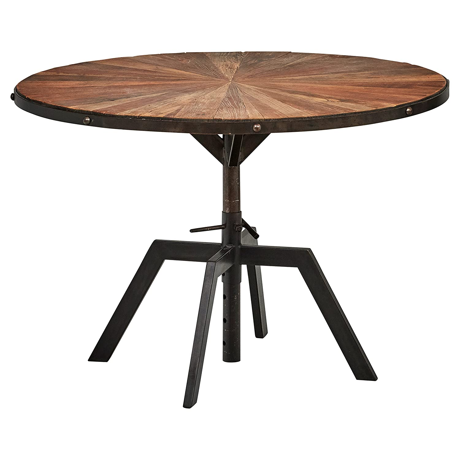 Rivet Rustic Round Industrial Dining Kitchen Table, 35.4 Inch Wide,  Recycled Elm Wood, Black, Metal