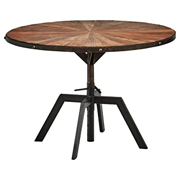 Phenomenal Rivet Rustic Round Industrial Dining Kitchen Table 35 4 Inch Wide Recycled Elm Wood Black Metal Home Interior And Landscaping Ologienasavecom