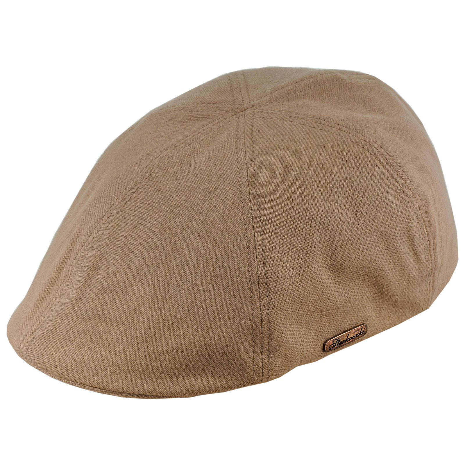 Sterkowski Light Breathable Emerizing Cotton 6 Panel Duckbill Flat Cap, Beige - 58cm = L = US 7 1/4 by Sterkowski (Image #3)