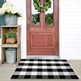 Cotton Buffalo Check Rug | 27.5 x 43 Inches | Buffalo Plaid Rug Washable Hand-Woven Outdoor Rugs for Layered Door Mats…