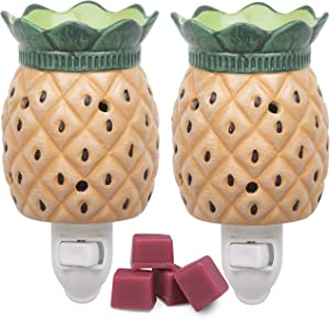 Deco Plug-in Electric Pineapple Candle Warmers, 2 Wax & Tart Warmer for Indoor Decor, Includes 4 Wax Cubes and Halogen Bulb- Freshen Home or Office w Desired Fragrance- Great Holiday & Wedding Gift