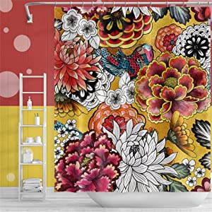 Qinunipoto Flower Shower Curtain Beautiful Peony Chrysanthemum Vintage Style Colorful Floral Pattern Cute Yellow Backdrop Bathroom Curtain for Kids Hotel Home Bathroom Decor Bathtubs 72x72inch