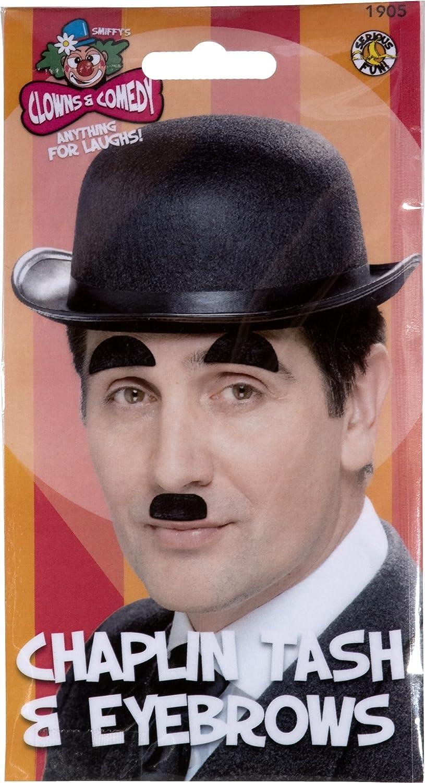 autoadh/ésive noirs Smiffys Moustache et sourcils de Chaplin