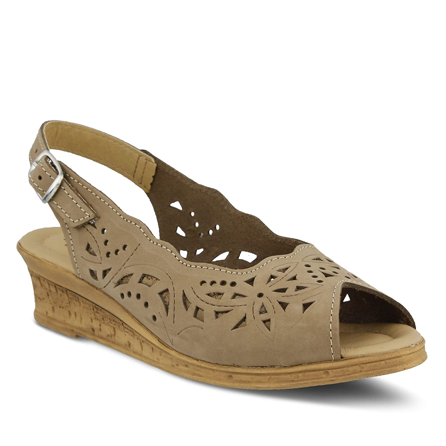 SPRING STEP Shoes Women's Orella | Color Beige | Leather Sling-Back Wedge Sandal B0789S2GBP 39 M EU