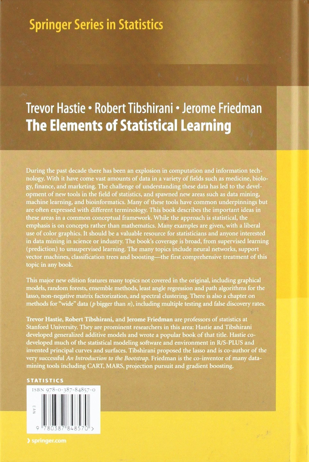 The Elements of Statistical Learning: Data Mining, Inference, and Prediction, Second Edition (Springer Series in Statistics) by Springer