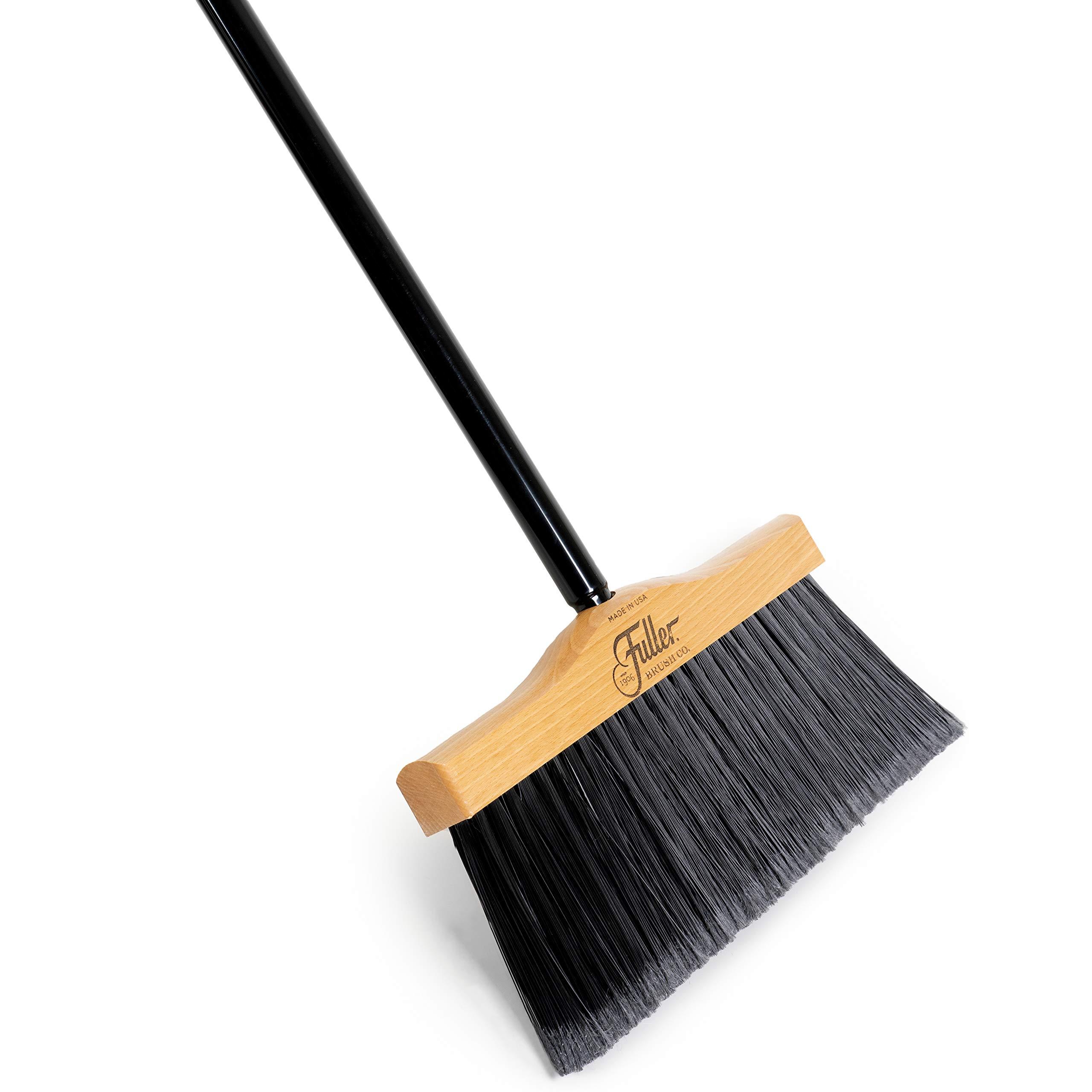 Fuller Brush Indoor/Outdoor Broom - Heavy Duty Wide Wooden Sweeper Replacement w/Long Bristles - Commercial Floor Brush for Salon, Shop, Kitchen & Garage (12'' Complete Broom)
