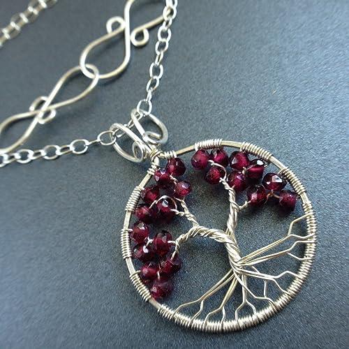 Amazoncom Silver Tree of Life Garnet Necklace January Birthstone