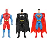 Spiderman, Superman, Batman Super-Hero Figurine Adjustable Body Toy Set of 3 (Multicolor)