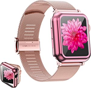 Girovo Compatible with Apple Watch Band 44mm Women Girls, Stainless Steel Mesh iWatch Bands with Screen Protector Case Cover Accessories for Apple Watch Bands Series 6/SE/Series 5/Series 4, Pink Gold