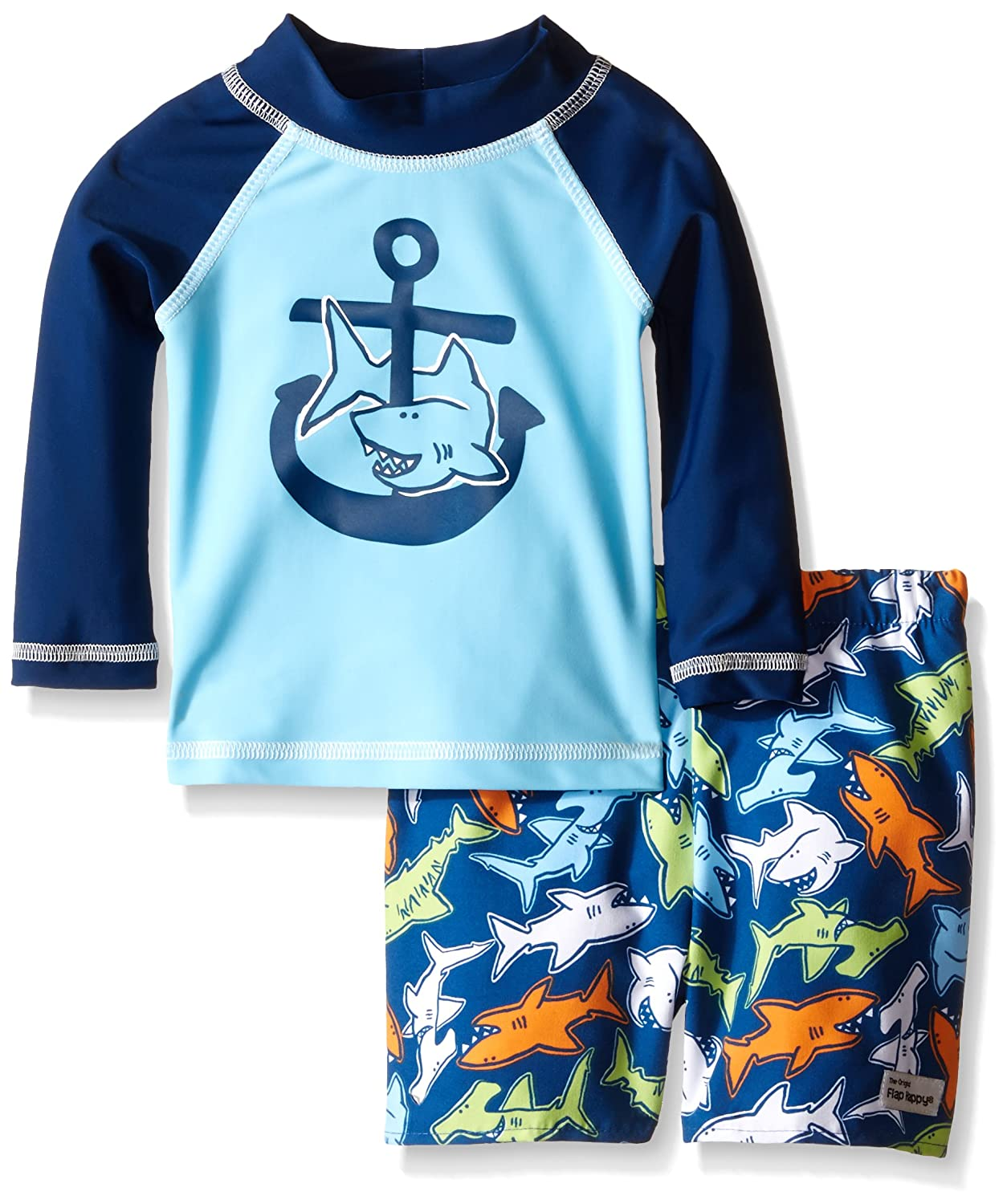 Flap Happy Baby Boys' UPF 50+ Graphic Rash Guard and Infant Swim Diaper Trunk Set RLPD6AZ