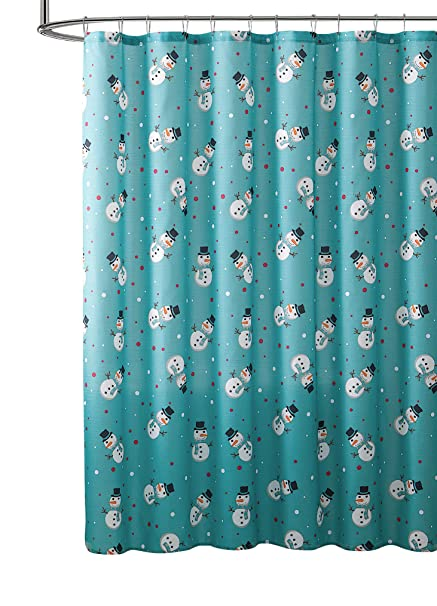 Reindeer Flowers Christmas Fabric Shower Curtain 70x70 Holiday Red Turquoise