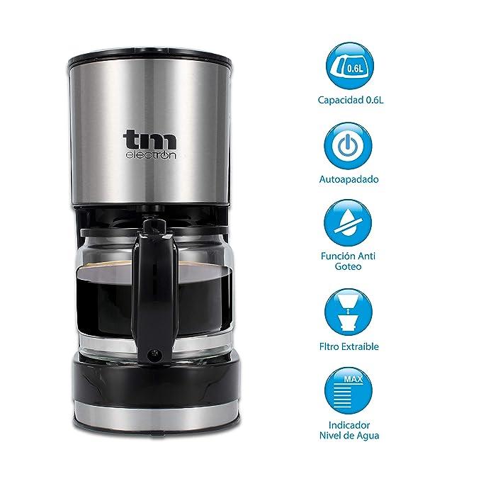 TM Electron TMPCF007 cafetera eléctrica de Goteo, 600W de Potencia, Jarra de 0,6L para 6 Tazas y Filtro extraíble, Plastic, Acero Inoxidable: Amazon.es: ...