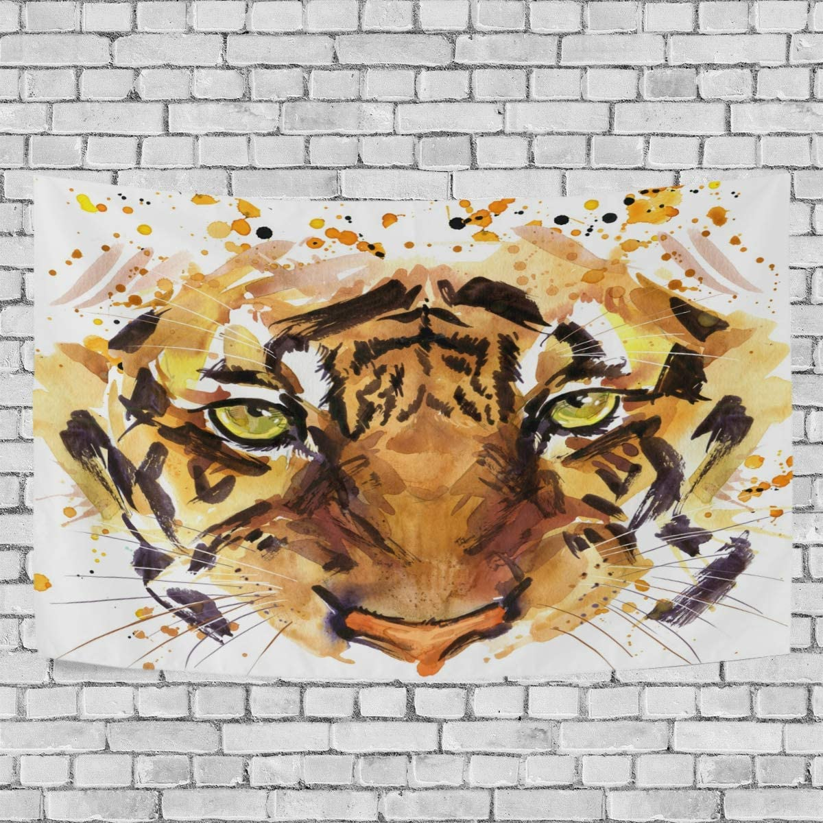 WOOR Tapestry Wall Hanging Vintage Cool Tiger Head Art Wall Tapestry for Living Room Bedroom Dorm Home Decor 90×60 Inches