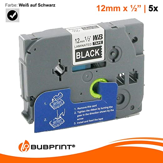 Bubprint Schriftband kompatibel f/ür Brother TZE-521 TZE521 f/ür P-Touch 1280 2430PC 2730VP 3600 9500PC 9700PC D400VP D600VP H100LB H105 P700 P750W 9MM
