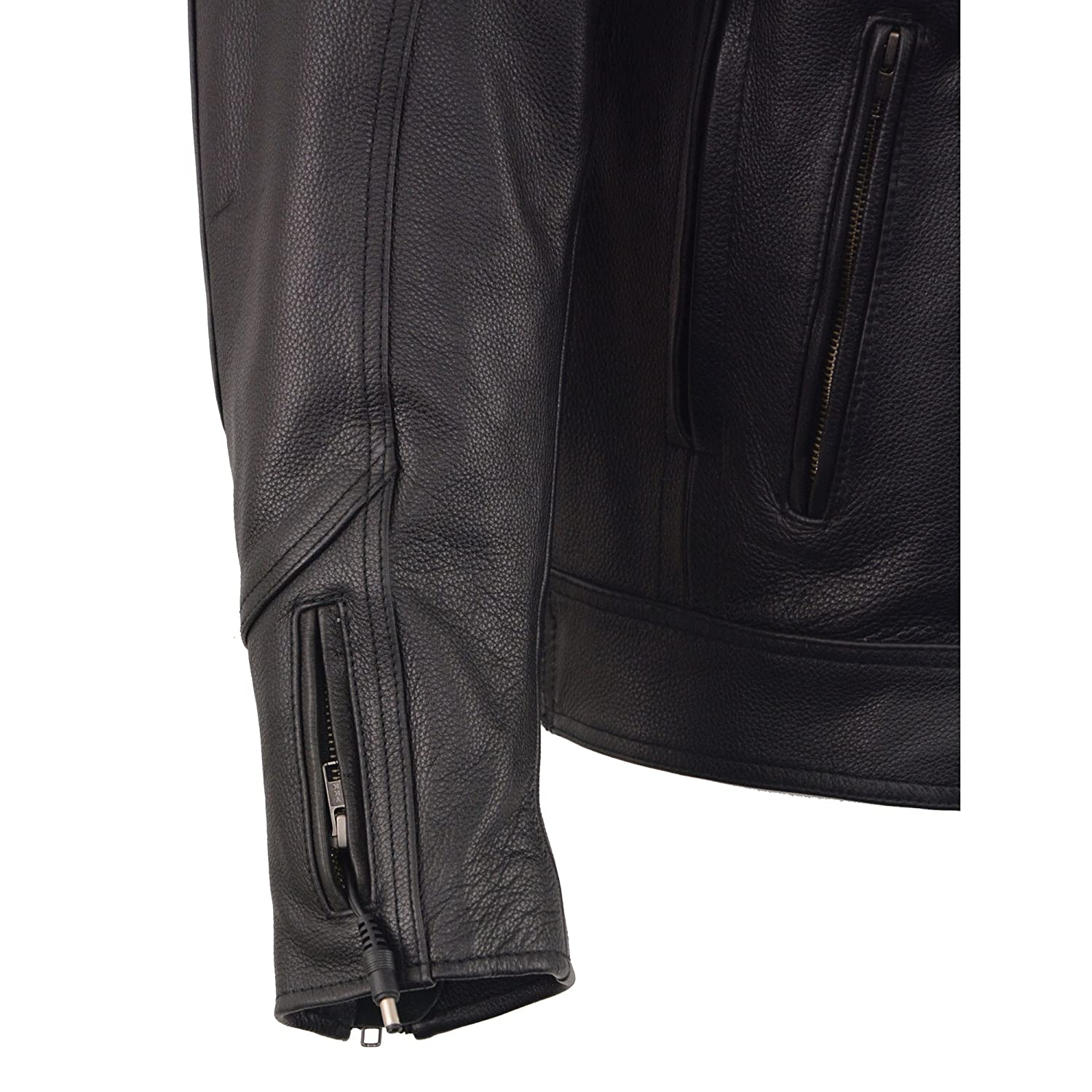 Milwaukee Leather Mens Vented Scooter Jacket w//Heated Technology-Black-Small MLM1513-BLK-SM