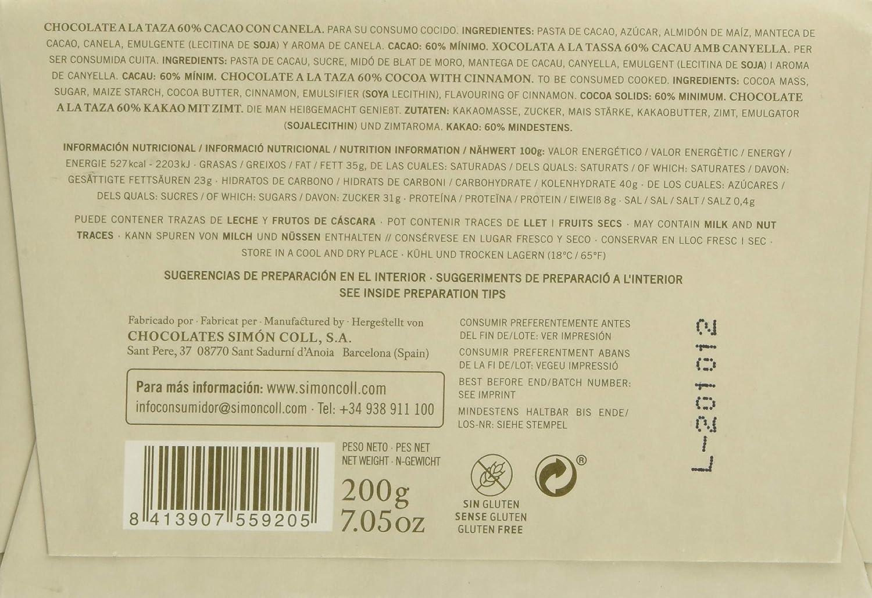 Chocolates Simón Coll, Barrita grande de chocolate (Canela, 60% cacao) - 20 de 200 gr. (Total 4000 gr.): Amazon.es: Alimentación y bebidas