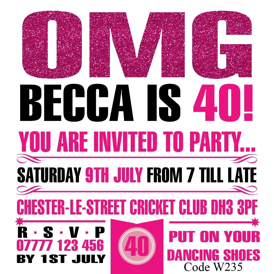 Women/'s Personalised Birthday Party Invitations Cards Any Age Free Envelopes