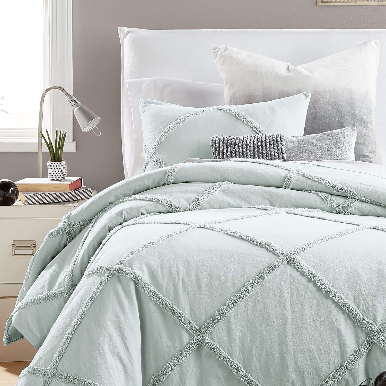Peri Home Kids Bedding Chenille Lattice 3-Piece Bed Set 100% Cotton Comforter and Sham Set, Twin, Aqua