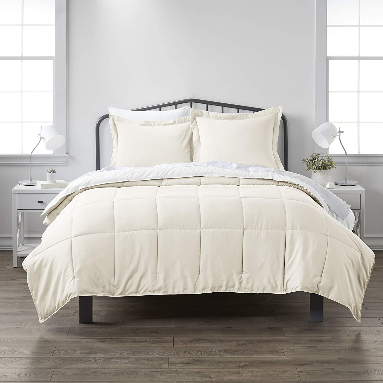 ienjoy Home Premium Down Alternative Reversible Comforter Set, King/Cal King, White