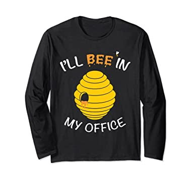 15e6b5a7 Unisex Funny Bee Keeper Gift Beehive Honey Bee Long Sleeve T-Shirt Small  Black