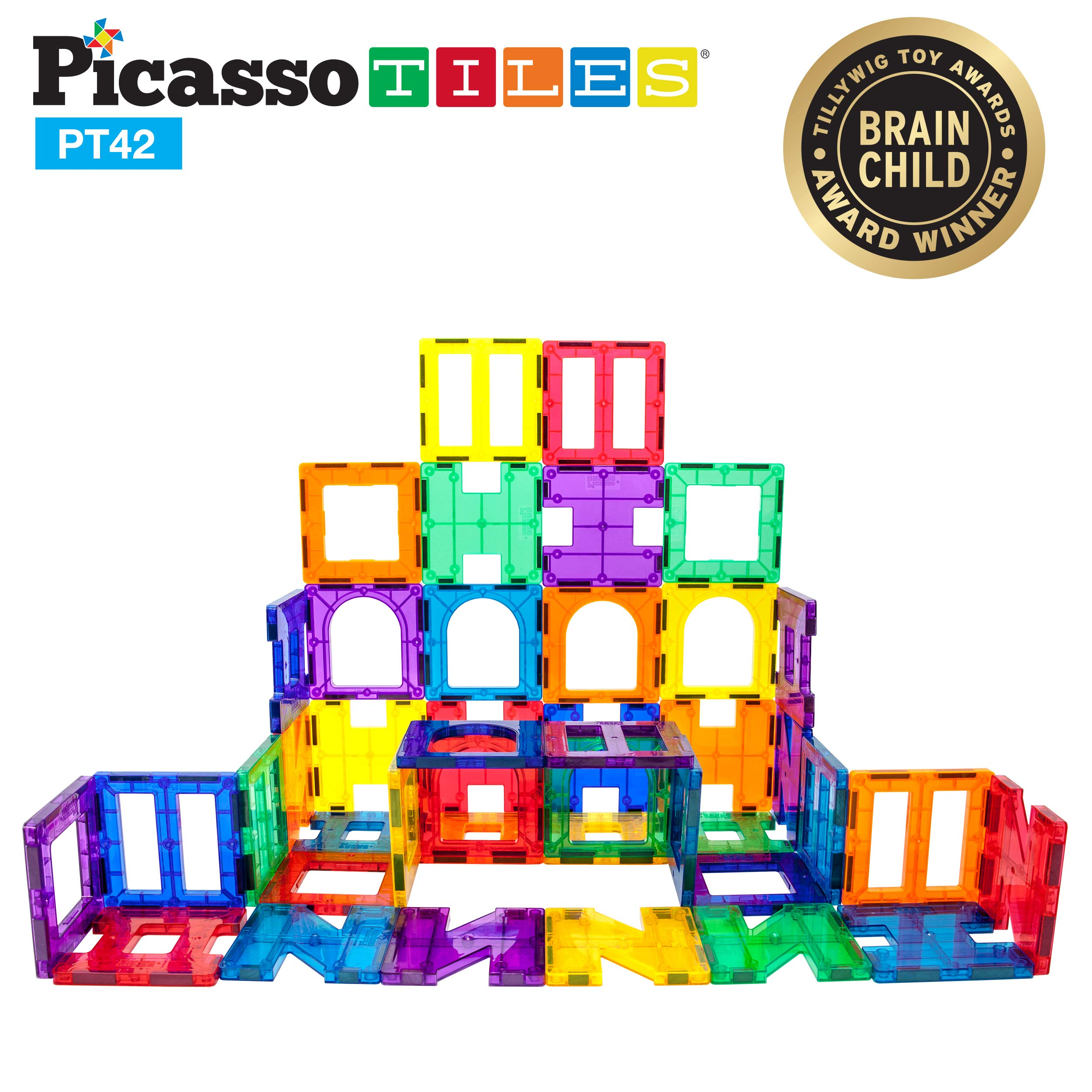 PicassoTiles¨ PT42 Designer Artistry Kit 42pcs Set Magnet Building Tiles Clear Color Magnetic 3D Building Block - Creativity Beyond Imagination! Educational, Inspirational, Conventional, Recreational by PicassoTiles