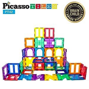 PicassoTiles¨ PT42 Designer Artistry Kit 42pcs Set Magnet Building Tiles Clear Color Magnetic 3D Building Block - Creativity Beyond Imagination! Educational, Inspirational, Conventional, Recreational