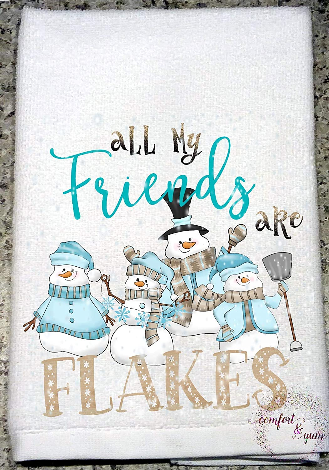 Amazon Com All My Friends Are Flakes Snowman Buddies In Sweaters Hat Scarf Mittens Kitchen Towel Hostess Holiday Gift Handmade