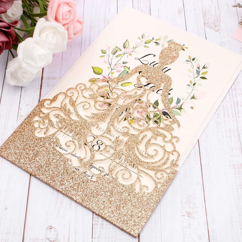 HIGHYI Wedding Invitation Card-Laser Cut Rose Gold Glitter Hollow Bride 25PCS Paper Card Set For Wedding Engagement Birthday Baby Shower Dinner (DIY Blank Inner Sheet) by HIGHYI (Image #6)