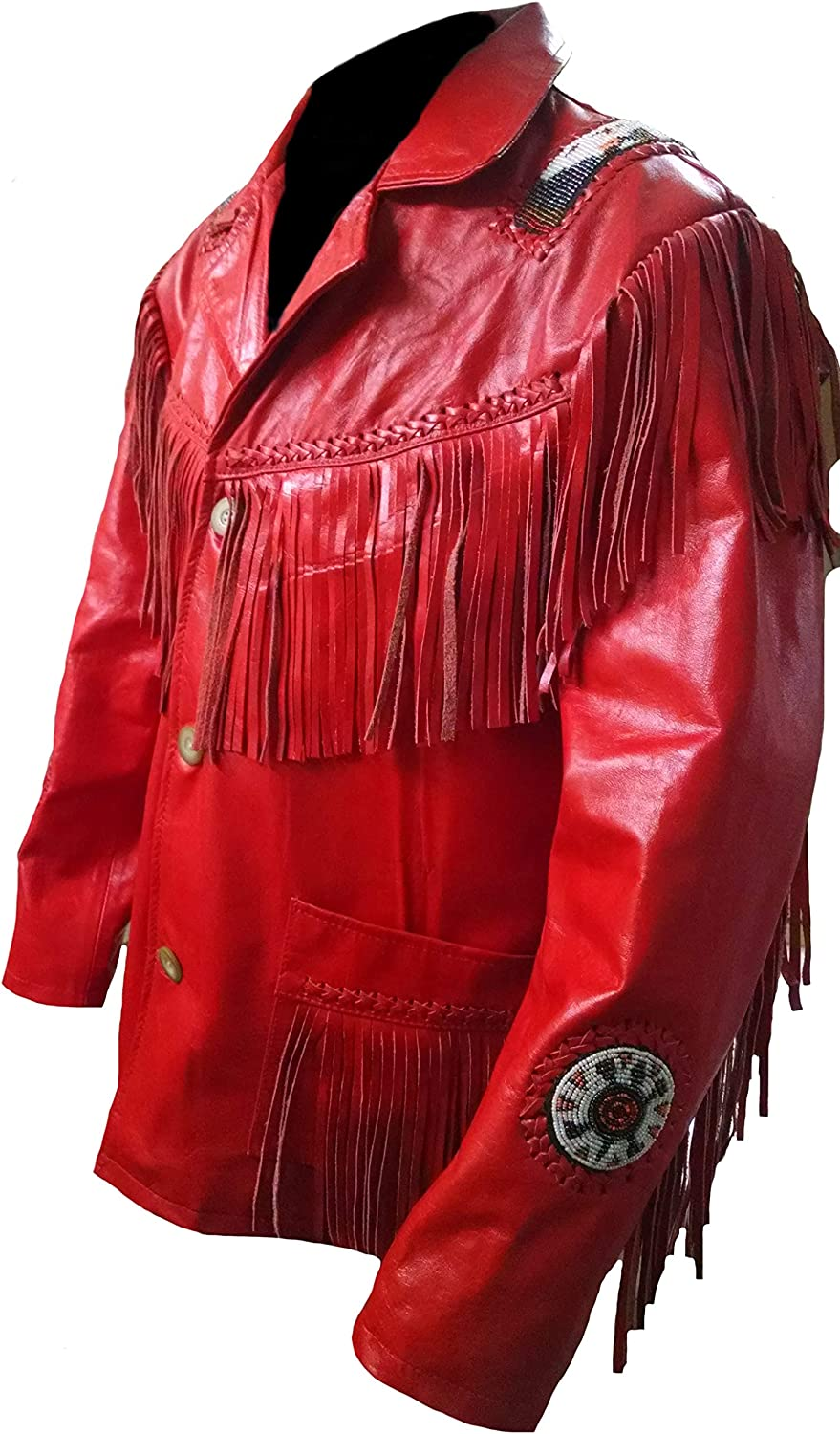 Stormwise Mens Western Cowboy Real Leather Cowhide Jacket