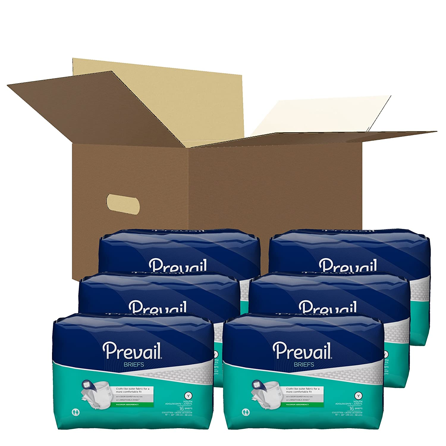 Amazon.com: Prevail Briefs Youth Case of 96 (6 Packs of 16) - PV-015: Health & Personal Care