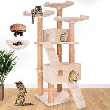 Leopet - Árbol rascador para gatos con cuevas, escaleras y plataformas - color beis: Amazon.es: Hogar