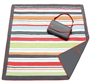 JJ Cole Water-Resistant Outdoor Blanket with Adjustable Bag Strap, Gray/Red Stripe, 5' x 5'