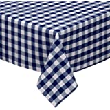 "Navy and White Checkered Kitchen/Dining Room Tablecloth: Gingham/Plaid Design, Cotton Rich (54"" x 72"")"