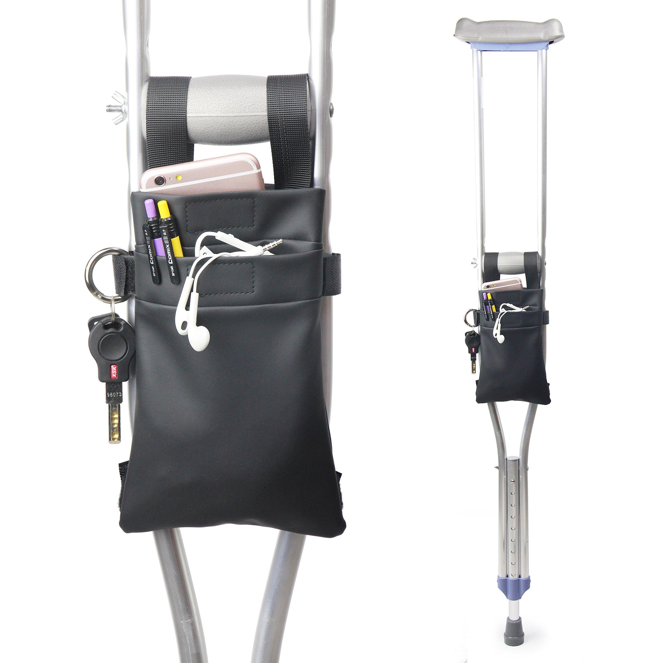 Crutch Bag Universal Crutches Accessory Crutch Carryon Pouch (Black, Pu Leather)