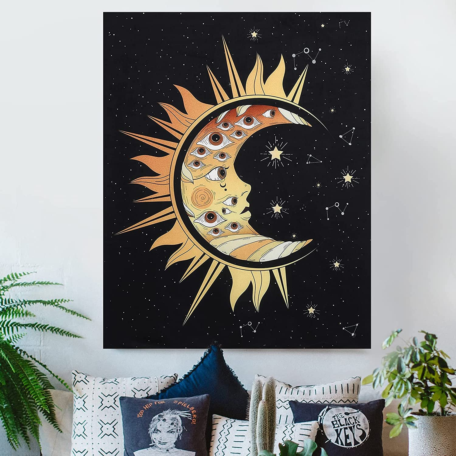 Lourny Large Black Tarot Tapestry - Short Plush Starry Night Sun and Moon Tapestries Wall Hanging Decor for Bedroom Living Room(Eyes, 36
