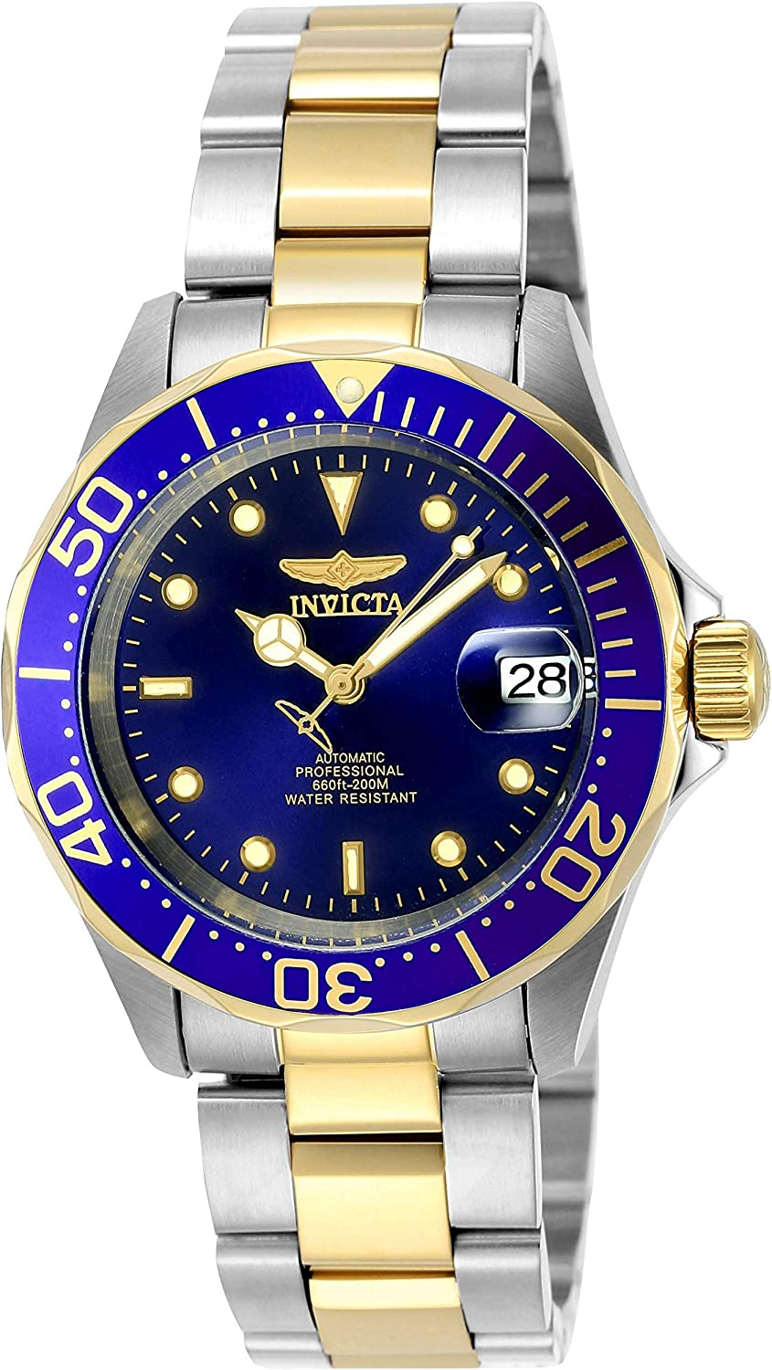 Amazon.com: Invicta Men's Pro Diver 40mm Steel and Gold Tone Stainless  Steel Automatic Watch, Two Tone/Blue (Model: 8928): Invicta: Watches