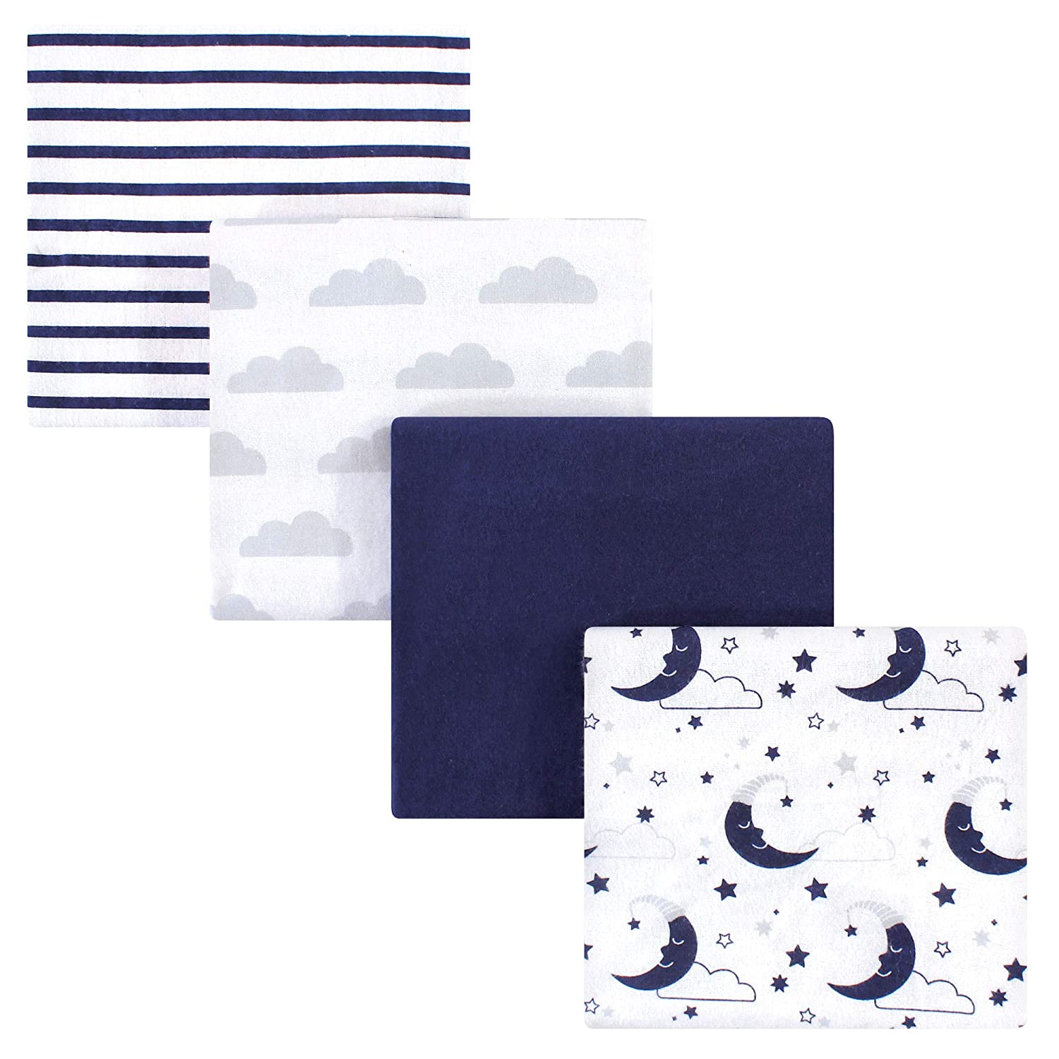Moon One Size 7 Pack Hudson Baby Boy and Girl Flannel Receiving Blanket