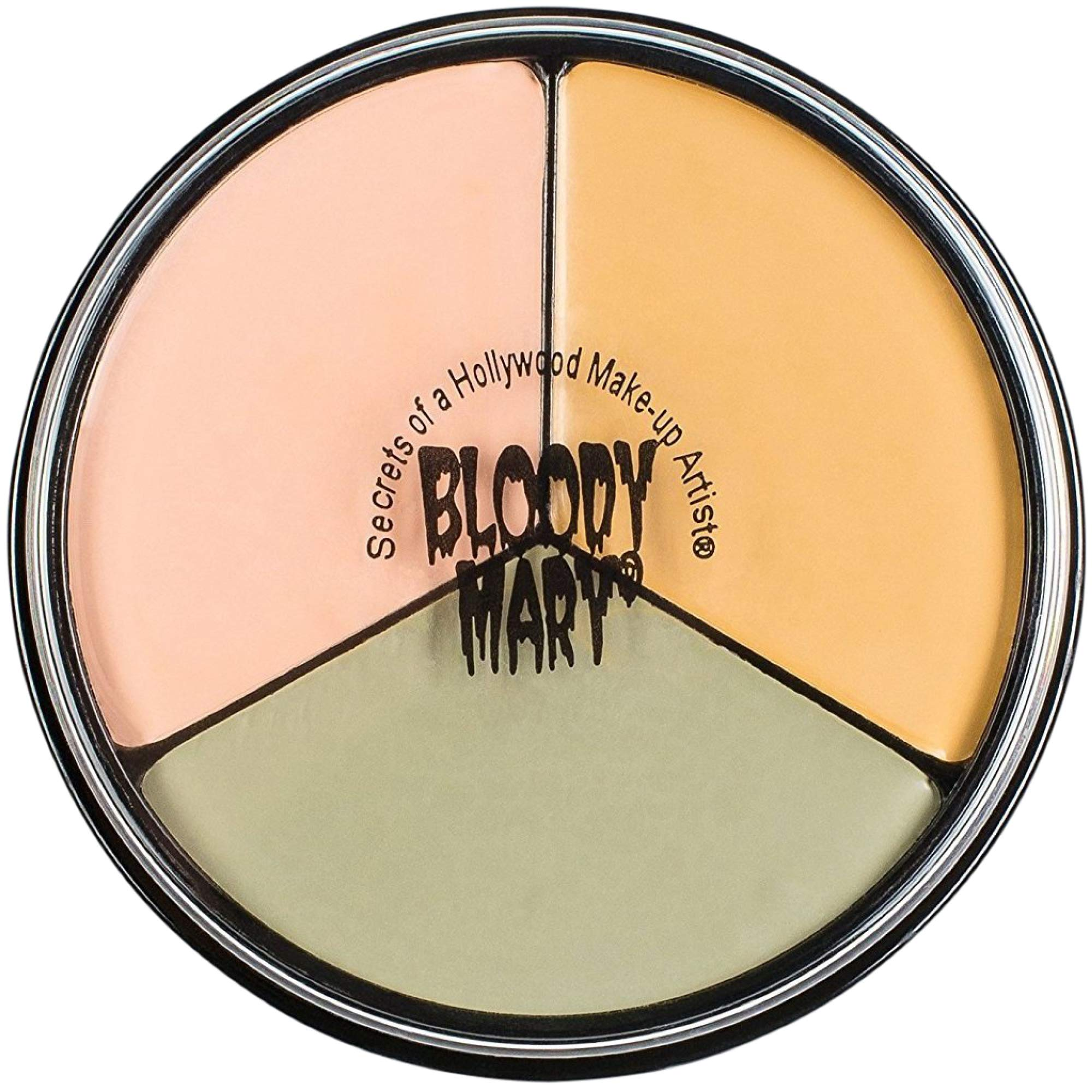 Bloody Mary Tri Color Wheel Monster Makeup Cream - Death Pale, Flesh and Vampire Gray for Theater, Costume or Halloween Zombie and Monster Dress Up - 1.3oz by Bloody Mary