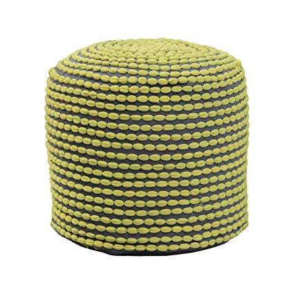 Groovy Collier Outdoor Pouf Green Fabric Round Footrest For Patio Set Machost Co Dining Chair Design Ideas Machostcouk