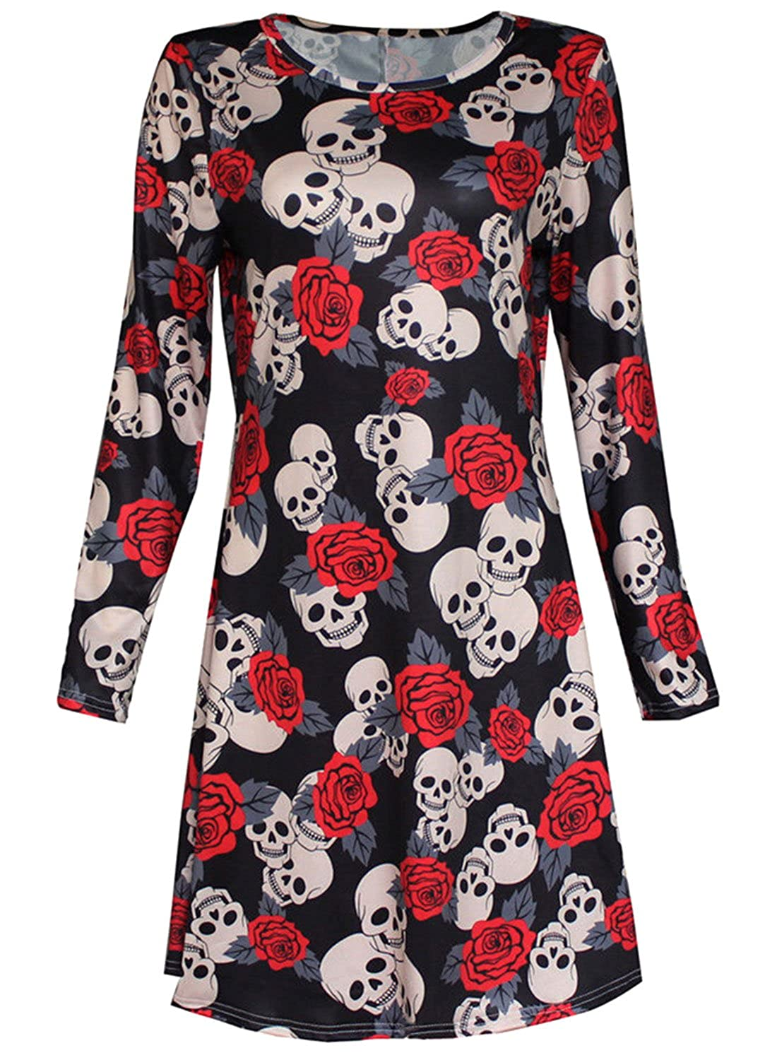 Women's Long Sleeve Halloween Topic Print Flared Swing Dress