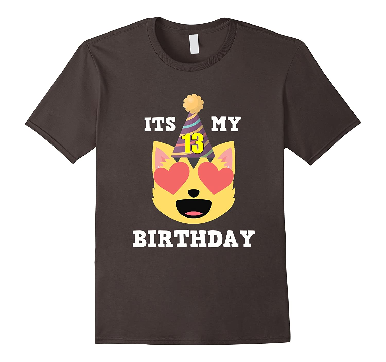 13th Birthday T-Shirt Heart Eyes Cat Emoji Birthday Shirt-TH