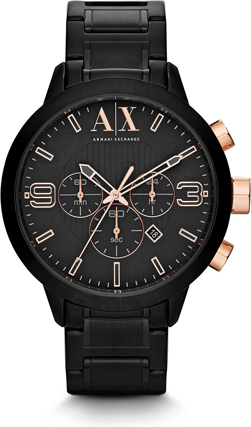 A:X Armani Exchange Atlc Chronograph Black Dial Black Ion-plated Mens Watch AX1350