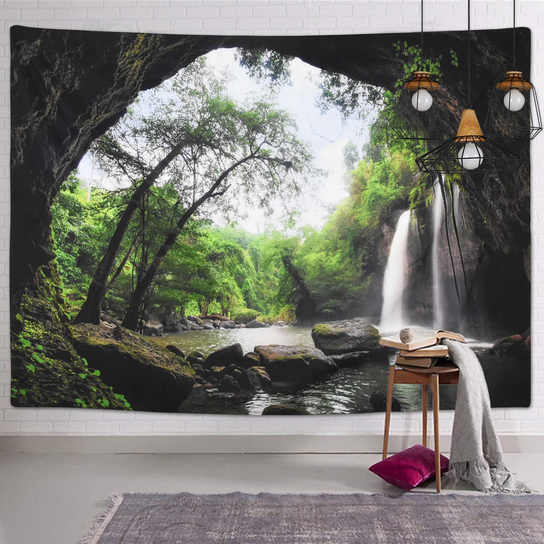 153x130cm Tapisseries d/écoratives Tapisserie murale Motif arbre color/é Oiseaux D/écoration pour salon ou chambre